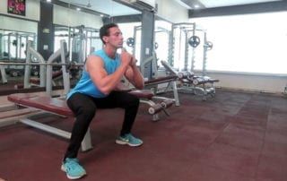 body weight bench squat
