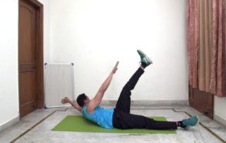 Lying opposite toe touch Exercise